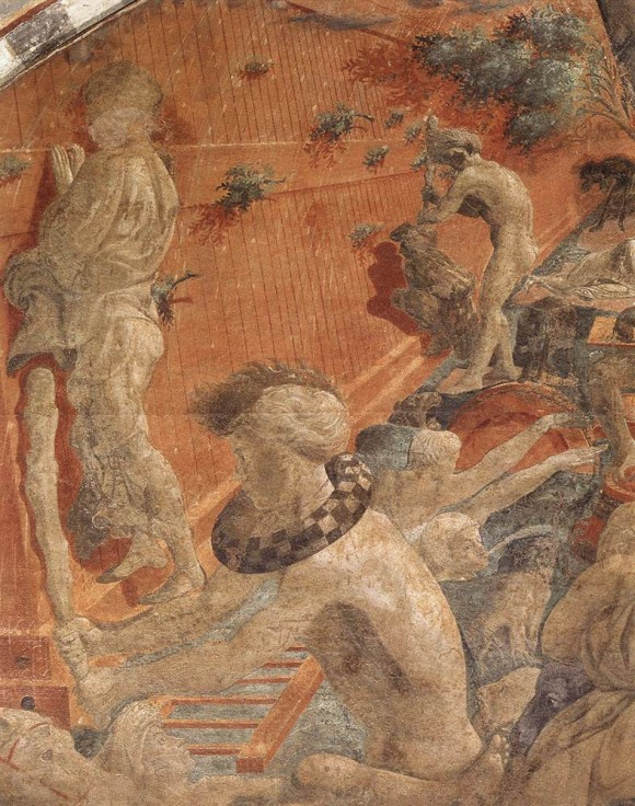 Detail of Paolo Uccello, deluge, showing figure with mazzocchio around its neck