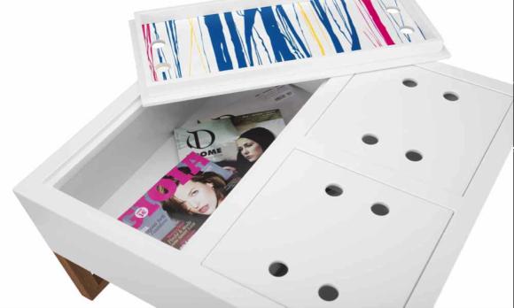Il tavolino ABI raddoppia le funzionalità. Da puro volume bianco, a mobile versatile e colorato