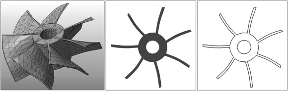 """Un modello 3D, il """"disegno"""" tradizionale e quello in SIS, solo per i contorni"""