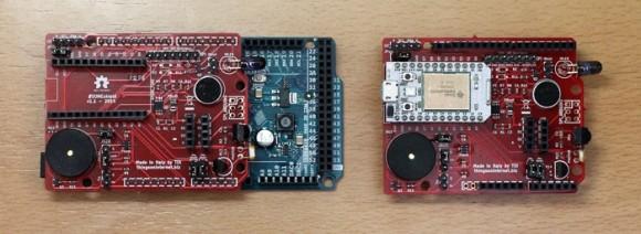 Il TOI Shield installato su Arduino Due e Spark Core