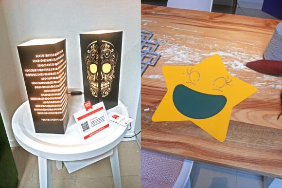Le lampade in carta di WLamp, a sinistra, e la lavagnetta Stella