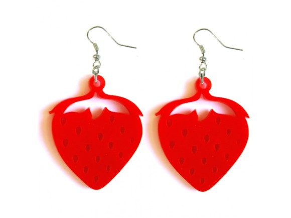 Strawberry Earrings in Laser Cut Acrylic